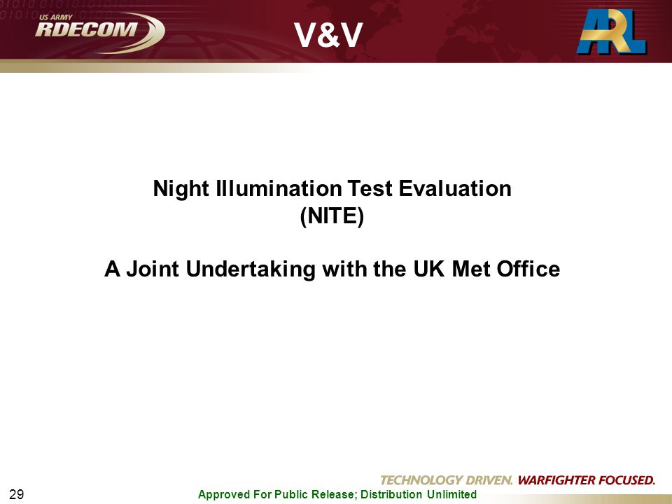 Approved For Public Release; Distribution Unlimited 29 Night Illumination Test Evaluation (NITE) A Joint Undertaking with the UK Met Office V&V