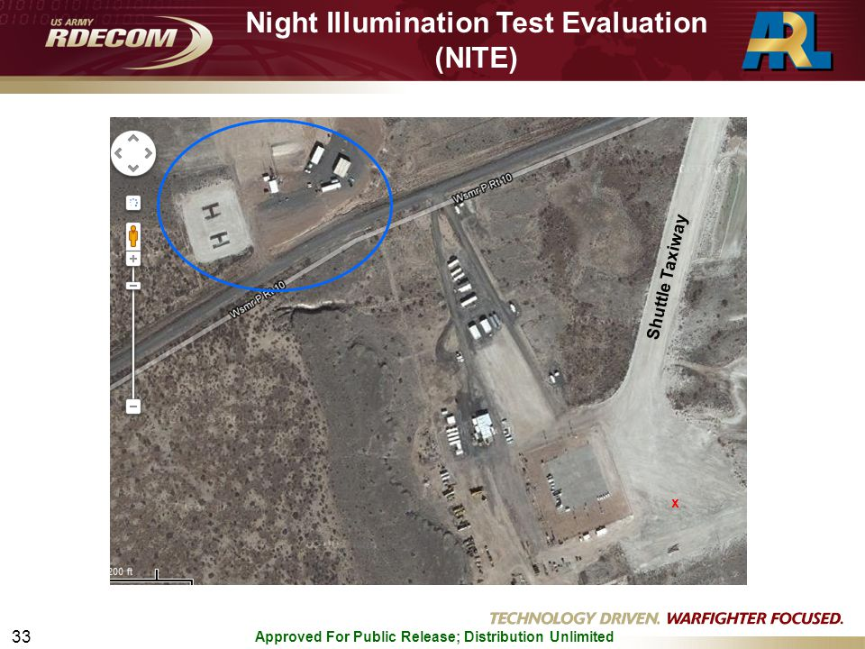 Approved For Public Release; Distribution Unlimited 33 x Night Illumination Test Evaluation (NITE) Shuttle Taxiway