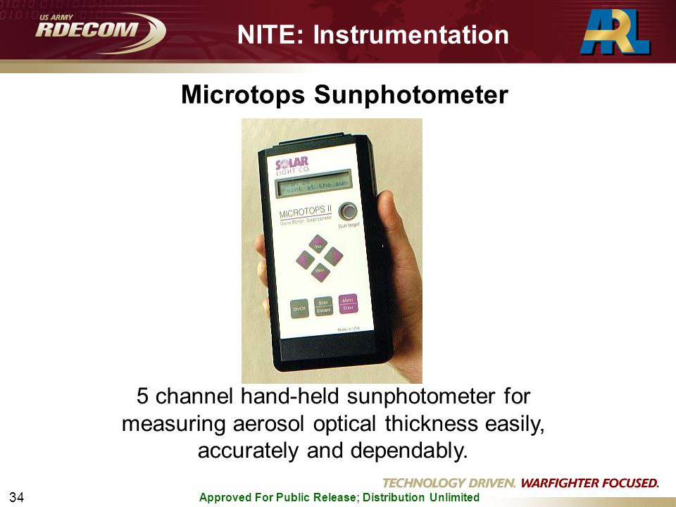 Approved For Public Release; Distribution Unlimited 34 Microtops Sunphotometer 5 channel hand-held sunphotometer for measuring aerosol optical thickness easily, accurately and dependably.