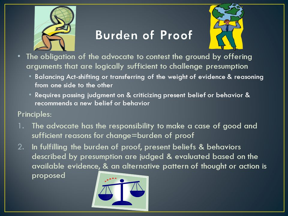The obligation of the advocate to contest the ground by offering arguments that are logically sufficient to challenge presumption Balancing Act-shifting or transferring of the weight of evidence & reasoning from one side to the other Requires passing judgment on & criticizing present belief or behavior & recommends a new belief or behavior Principles: 1.The advocate has the responsibility to make a case of good and sufficient reasons for change=burden of proof 2.In fulfilling the burden of proof, present beliefs & behaviors described by presumption are judged & evaluated based on the available evidence, & an alternative pattern of thought or action is proposed