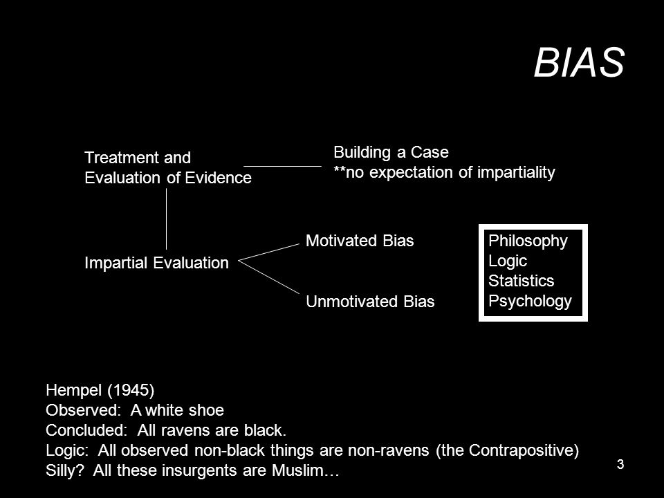 3 BIAS Treatment and Evaluation of Evidence Building a Case **no expectation of impartiality Impartial Evaluation Motivated Bias Unmotivated Bias Phil
