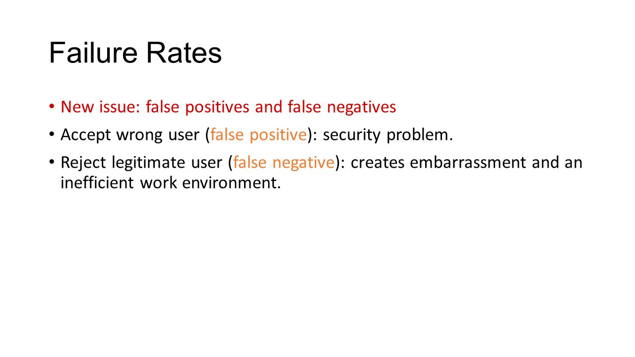 Failure Rates New issue: false positives and false negatives Accept wrong user (false positive): security problem.