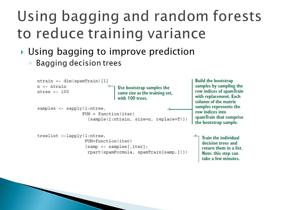  Using bagging to improve prediction ◦ Bagging decision trees