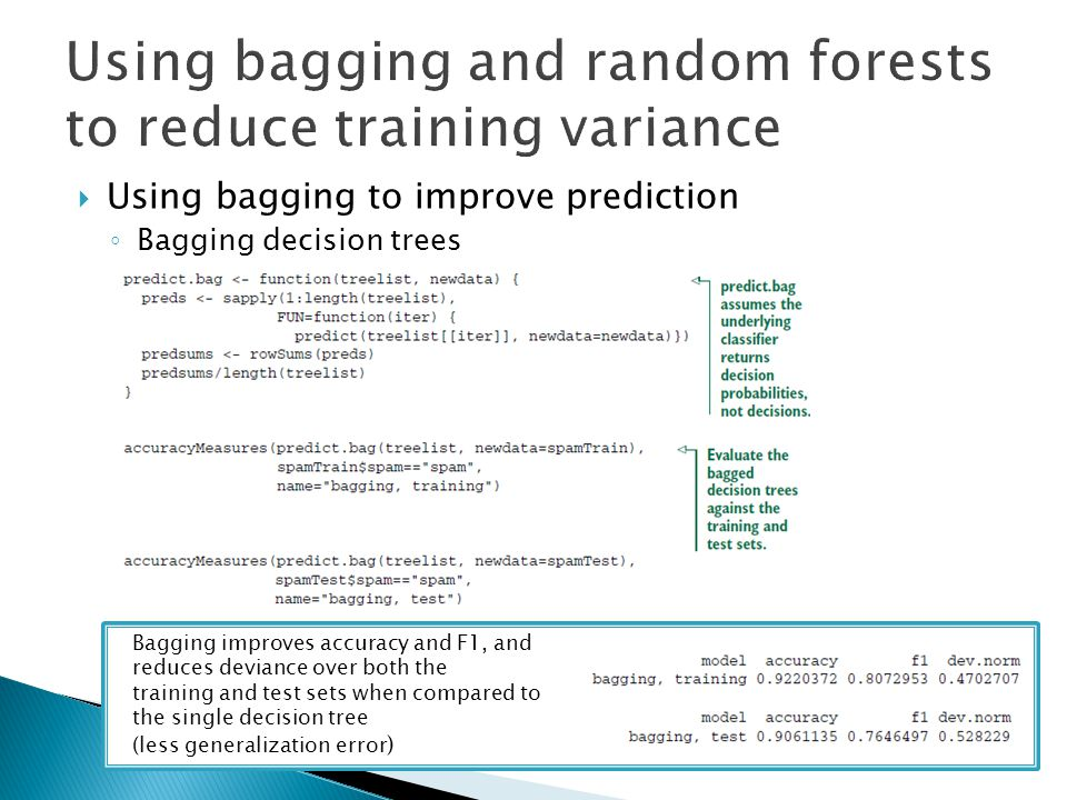  Using bagging to improve prediction ◦ Bagging decision trees Bagging improves accuracy and F1, and reduces deviance over both the training and test