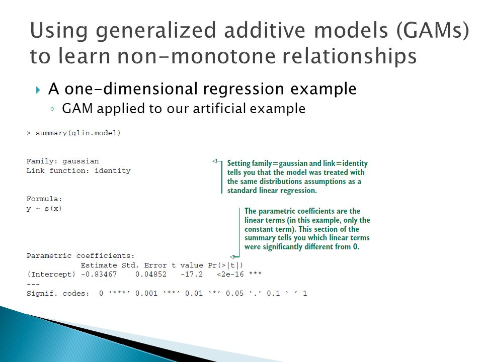  A one-dimensional regression example ◦ GAM applied to our artificial example