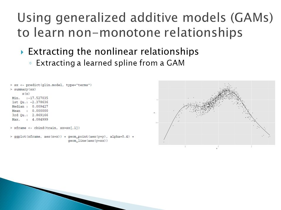  Extracting the nonlinear relationships ◦ Extracting a learned spline from a GAM