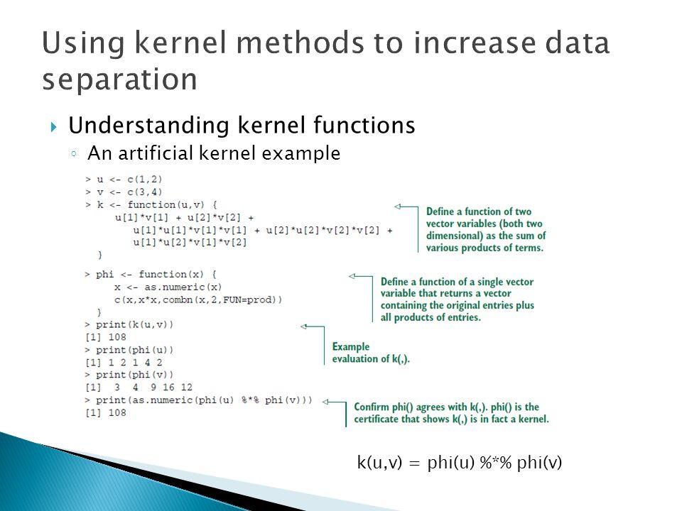  Understanding kernel functions ◦ An artificial kernel example k(u,v) = phi(u) %*% phi(v)
