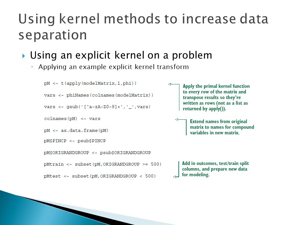  Using an explicit kernel on a problem ◦ Applying an example explicit kernel transform