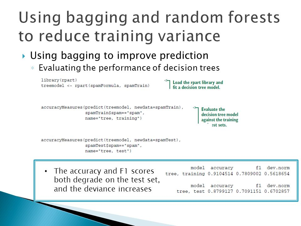  Using bagging to improve prediction ◦ Evaluating the performance of decision trees The accuracy and F1 scores both degrade on the test set, and the