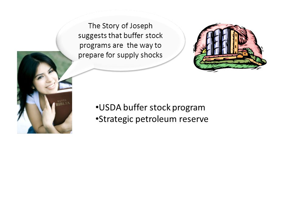 The Story of Joseph suggests that buffer stock programs are the way to prepare for supply shocks USDA buffer stock program Strategic petroleum reserve