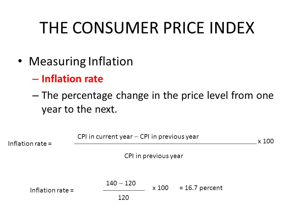 THE CONSUMER PRICE INDEX Measuring Inflation – Inflation rate – The percentage change in the price level from one year to the next.