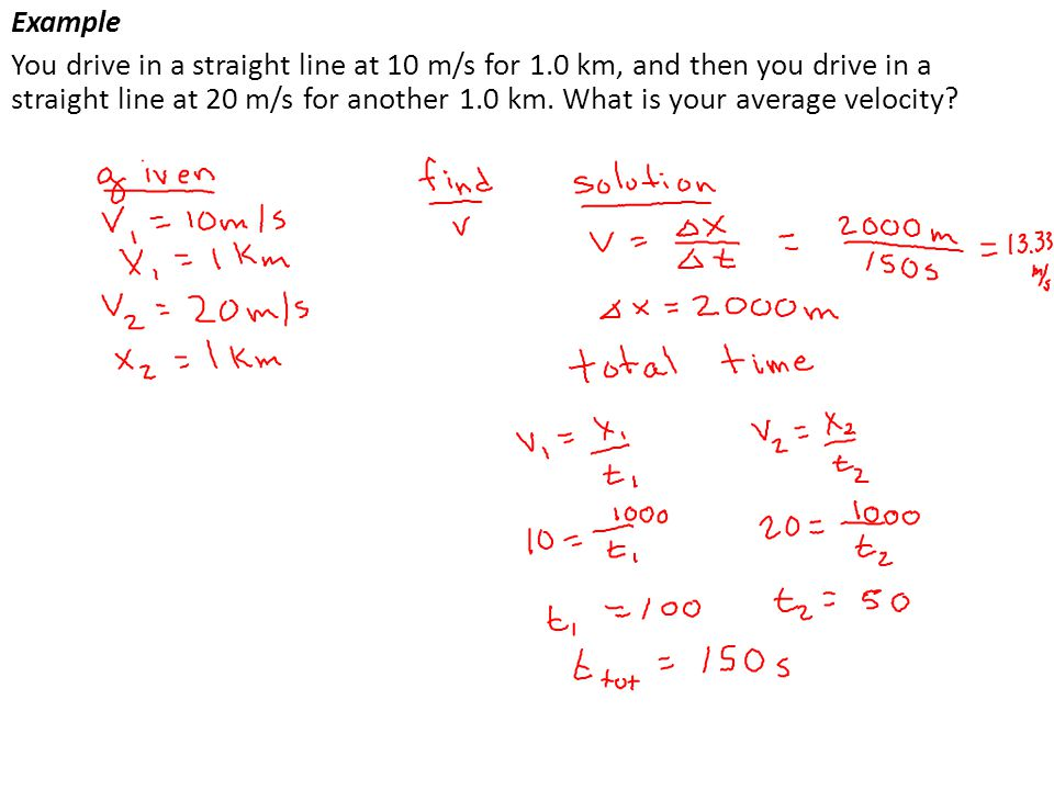 Example You drive in a straight line at 10 m/s for 1.0 km, and then you drive in a straight line at 20 m/s for another 1.0 km. What is your average ve