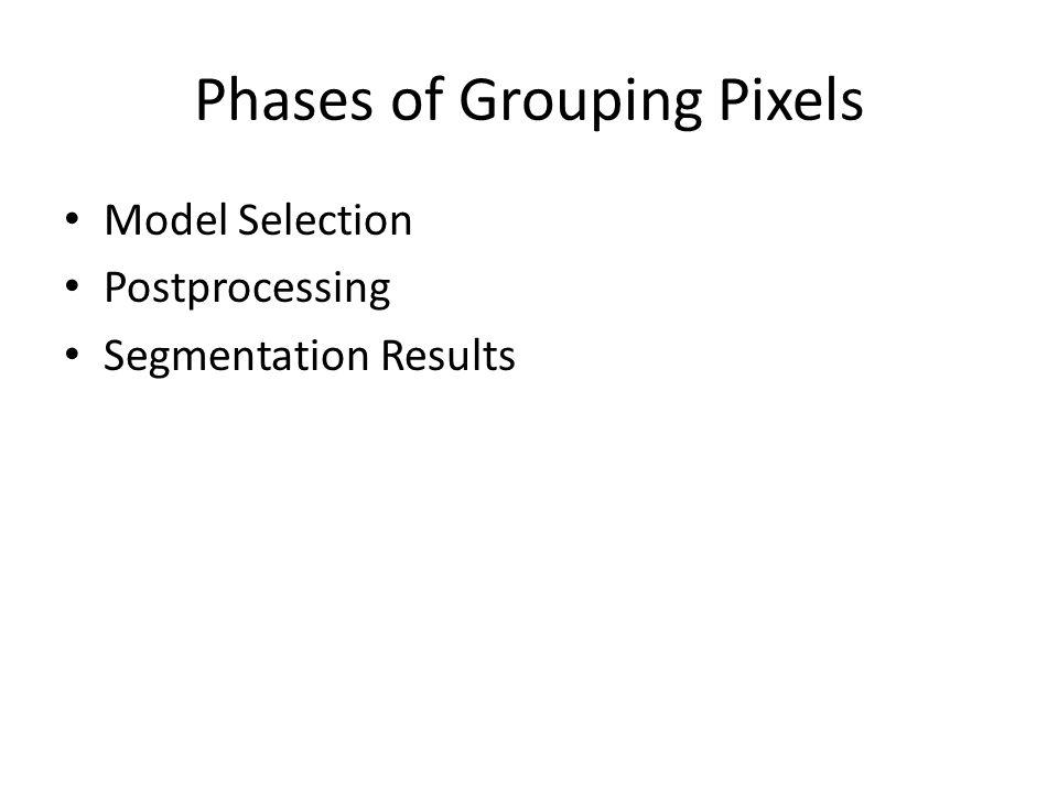 Phases of Grouping Pixels Model Selection Postprocessing Segmentation Results