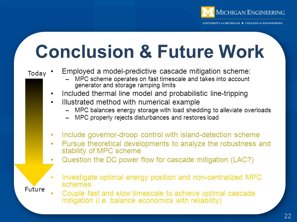 Conclusion & Future Work Employed a model-predictive cascade mitigation scheme: –MPC scheme operates on fast timescale and takes into account generator and storage ramping limits Included thermal line model and probabilistic line-tripping Illustrated method with numerical example –MPC balances energy storage with load shedding to alleviate overloads –MPC properly rejects disturbances and restores load Include governor-droop control with island-detection scheme Pursue theoretical developments to analyze the robustness and stability of MPC scheme Question the DC power flow for cascade mitigation (LAC ) Investigate optimal energy position and non-centralized MPC schemes Couple fast and slow timescale to achieve optimal cascade mitigation (i.e.
