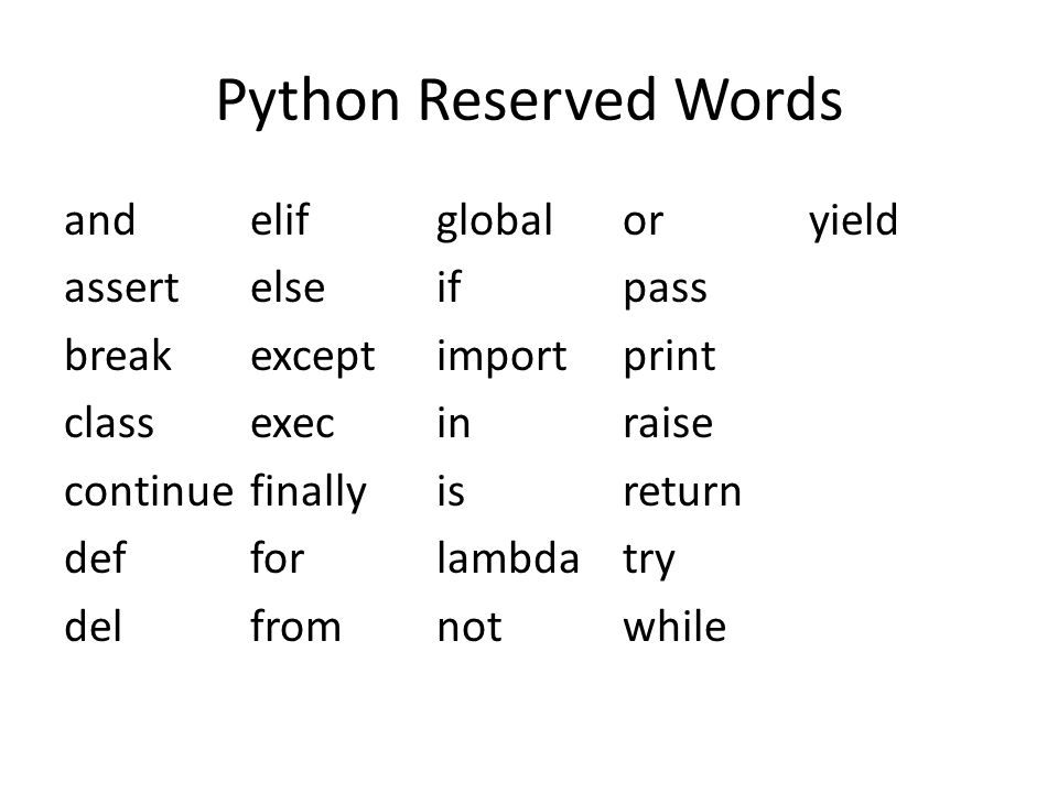 Python Reserved Words and assert break class continue def del elif else except exec finally for from global if import in is lambda not or pass print raise return try while yield