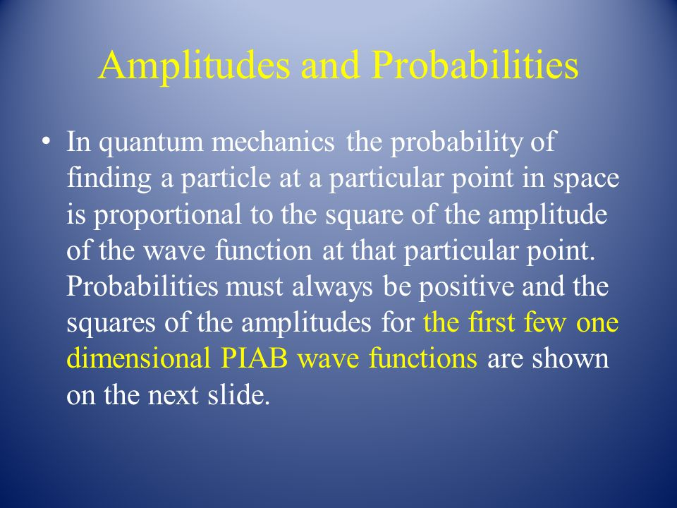 Amplitudes and Probabilities In quantum mechanics the probability of finding a particle at a particular point in space is proportional to the square of the amplitude of the wave function at that particular point.