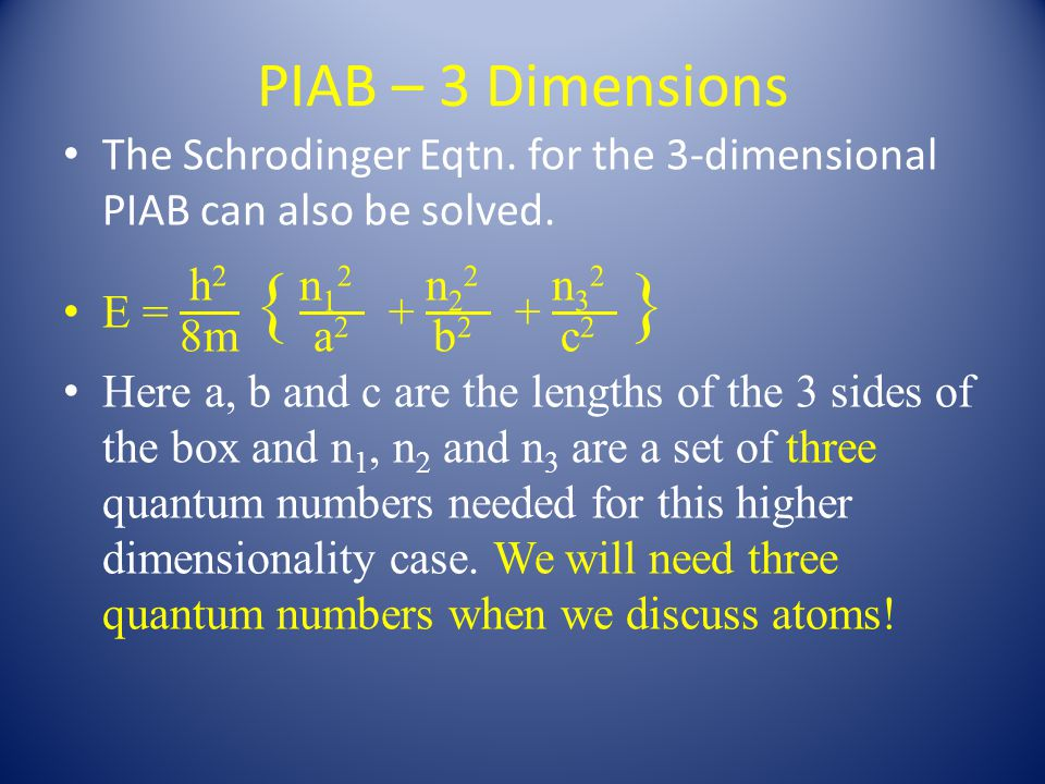 PIAB – 3 Dimensions