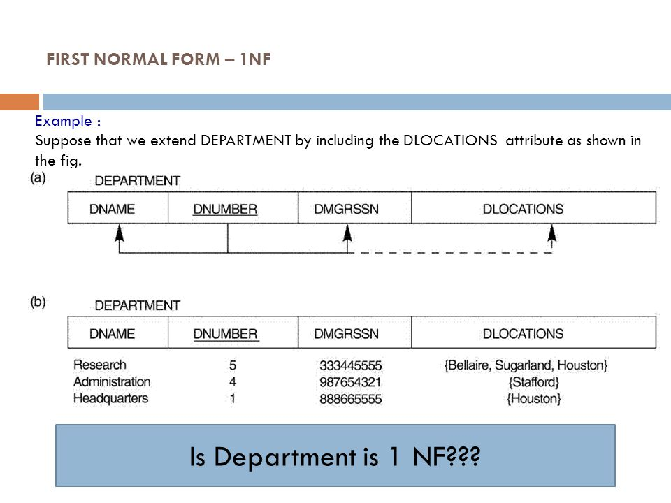 Example : Suppose that we extend DEPARTMENT by including the DLOCATIONS attribute as shown in the fig. FIRST NORMAL FORM – 1NF Is Department is 1 NF??
