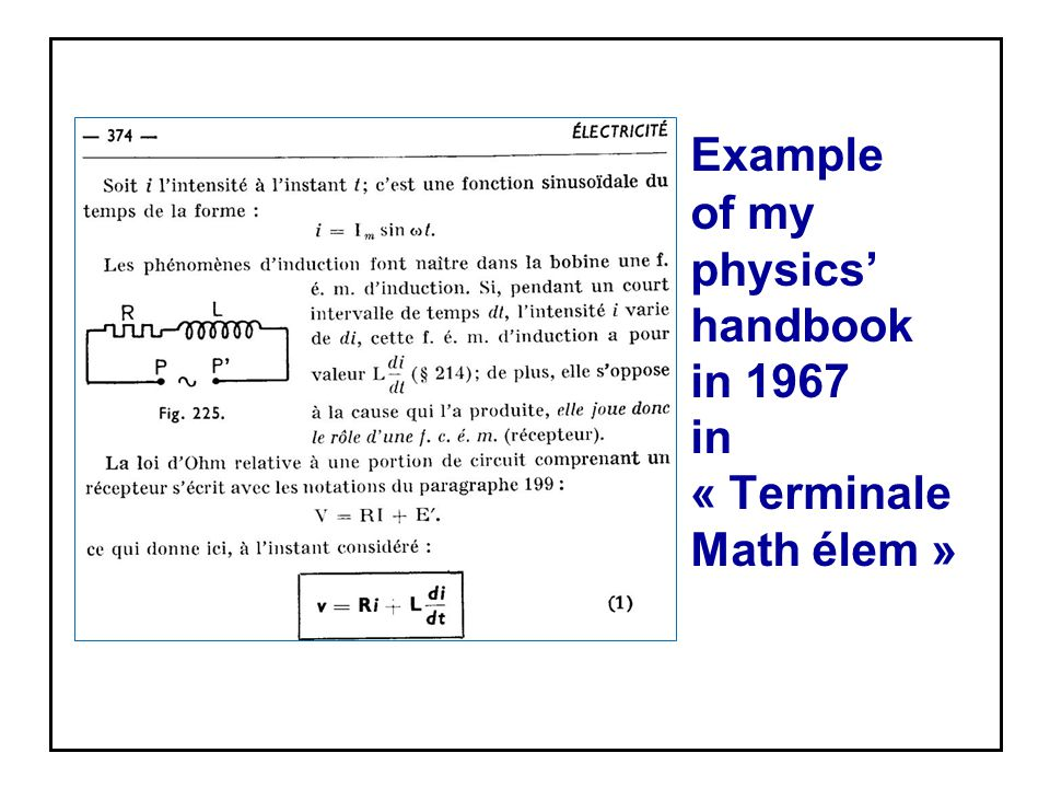 Example of my physics' handbook in 1967 in « Terminale Math élem »