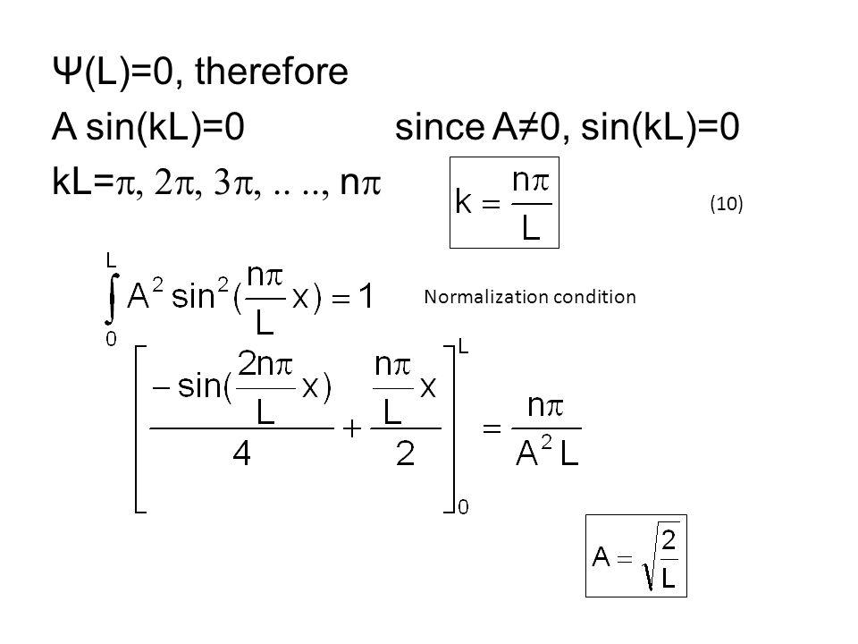 Ψ(L)=0, therefore A sin(kL)=0 since A≠0, sin(kL)=0 kL=  n  Normalization condition (10)