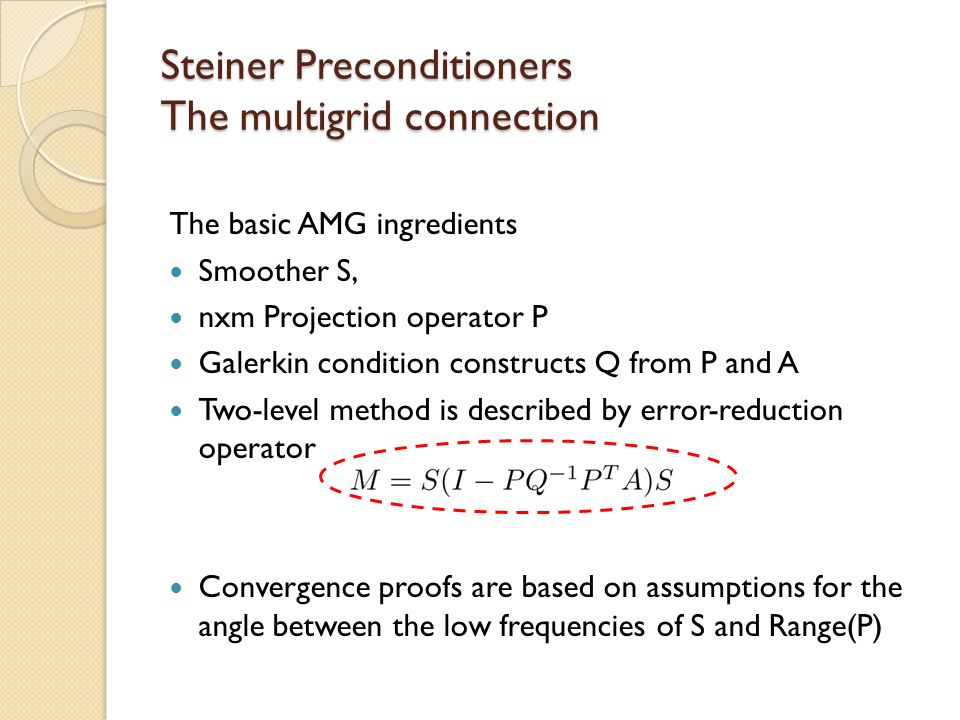 Steiner Preconditioners The multigrid connection The basic AMG ingredients Smoother S, nxm Projection operator P Galerkin condition constructs Q from P and A Two-level method is described by error-reduction operator Convergence proofs are based on assumptions for the angle between the low frequencies of S and Range(P)