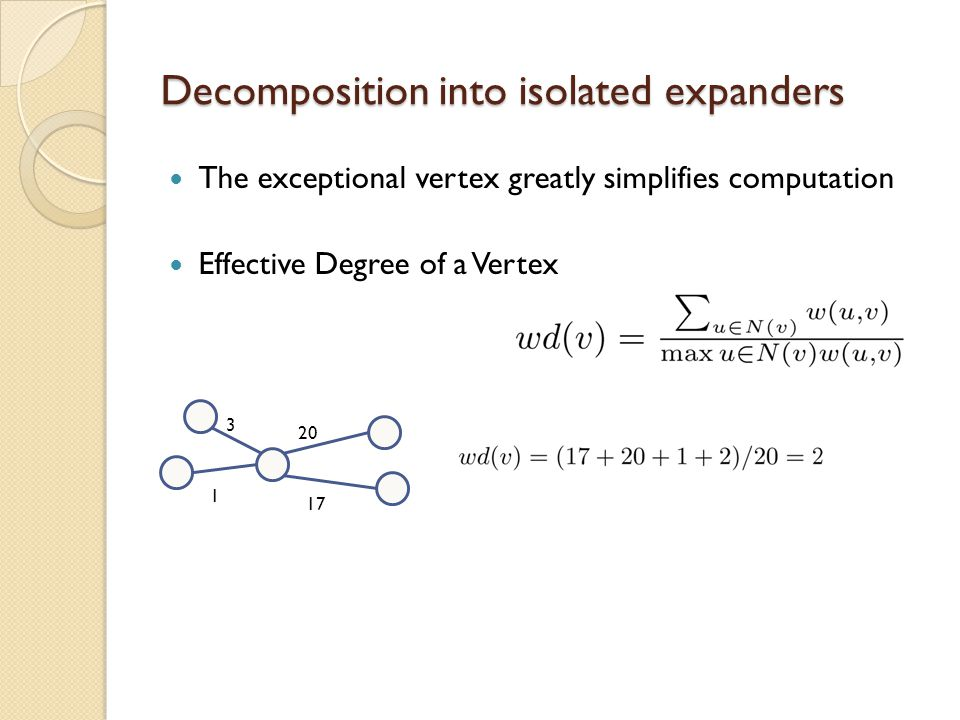 Decomposition into isolated expanders The exceptional vertex greatly simplifies computation Effective Degree of a Vertex 20 17 1 3