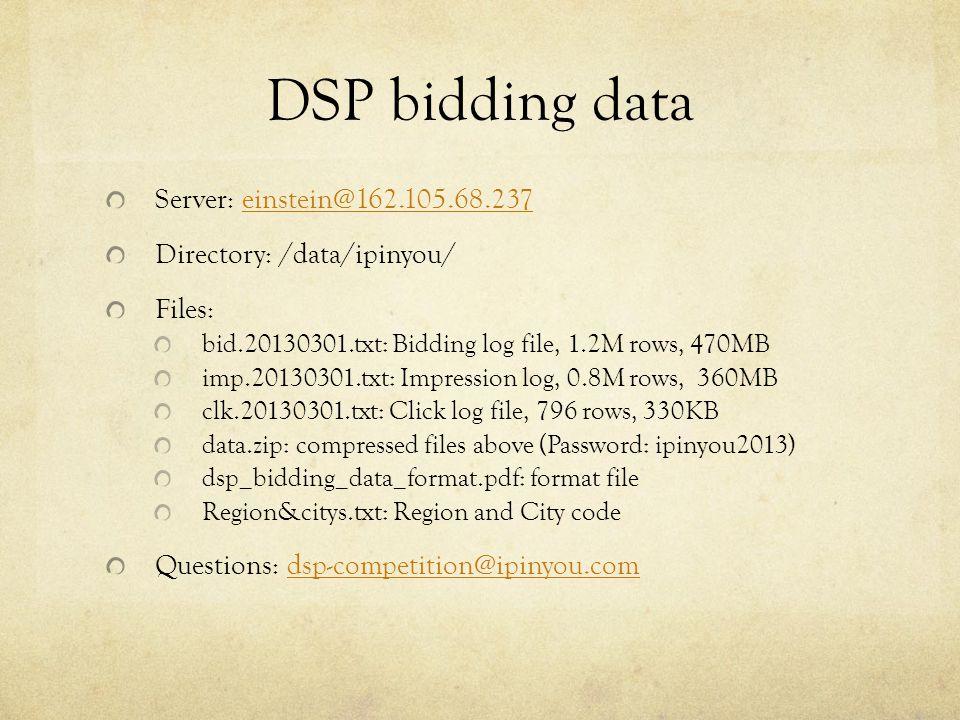 DSP bidding data Server: einstein@162.105.68.237einstein@162.105.68.237 Directory: /data/ipinyou/ Files: bid.20130301.txt: Bidding log file, 1.2M rows