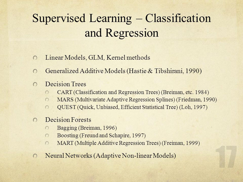 17 Supervised Learning – Classification and Regression Linear Models, GLM, Kernel methods Generalized Additive Models (Hastie & Tibshirani, 1990) Deci