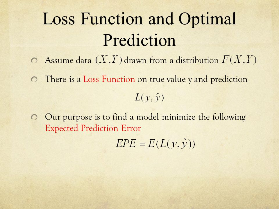 Loss Function and Optimal Prediction Assume data drawn from a distribution There is a Loss Function on true value y and prediction Our purpose is to f