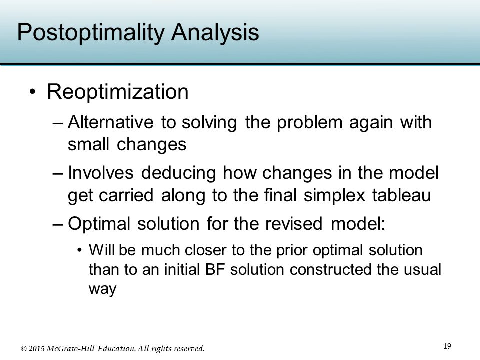 © 2015 McGraw-Hill Education. All rights reserved. Postoptimality Analysis 19 Reoptimization –Alternative to solving the problem again with small chan