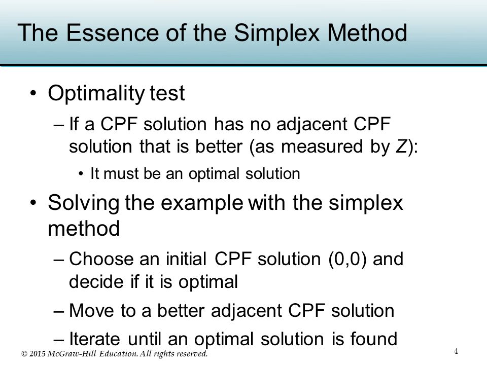 © 2015 McGraw-Hill Education. All rights reserved. The Essence of the Simplex Method Optimality test –If a CPF solution has no adjacent CPF solution t