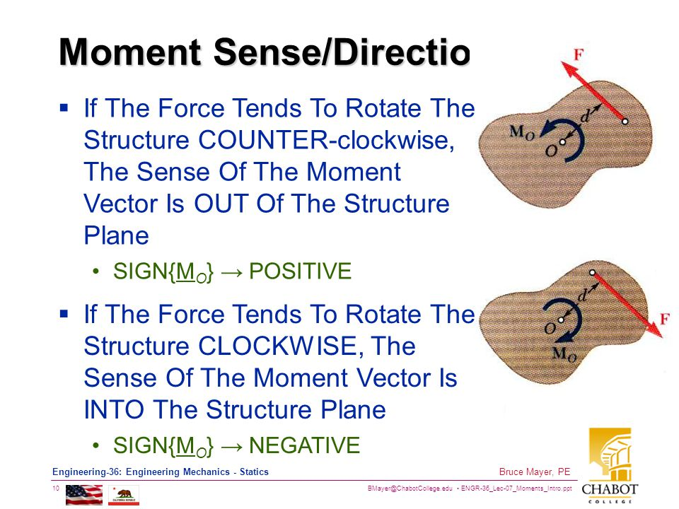 BMayer@ChabotCollege.edu ENGR-36_Lec-07_Moments_Intro.ppt 10 Bruce Mayer, PE Engineering-36: Engineering Mechanics - Statics Moment Sense/Direction  If The Force Tends To Rotate The Structure CLOCKWISE, The Sense Of The Moment Vector Is INTO The Structure Plane SIGN{M O } → NEGATIVE  If The Force Tends To Rotate The Structure COUNTER-clockwise, The Sense Of The Moment Vector Is OUT Of The Structure Plane SIGN{M O } → POSITIVE