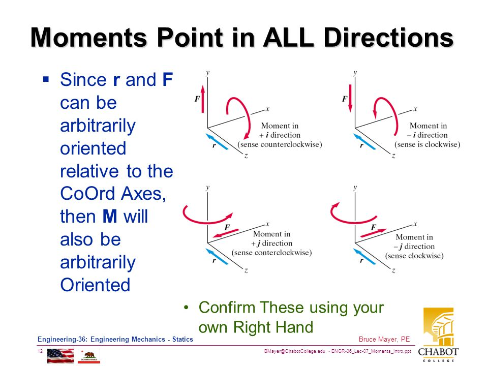 BMayer@ChabotCollege.edu ENGR-36_Lec-07_Moments_Intro.ppt 12 Bruce Mayer, PE Engineering-36: Engineering Mechanics - Statics Moments Point in ALL Directions  Since r and F can be arbitrarily oriented relative to the CoOrd Axes, then M will also be arbitrarily Oriented Confirm These using your own Right Hand