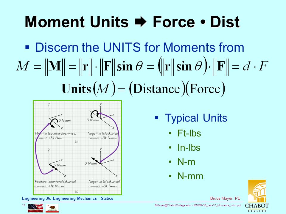 BMayer@ChabotCollege.edu ENGR-36_Lec-07_Moments_Intro.ppt 13 Bruce Mayer, PE Engineering-36: Engineering Mechanics - Statics Moment Units  Force Dist  Discern the UNITS for Moments from  Typical Units Ft-lbs In-lbs N-m N-mm