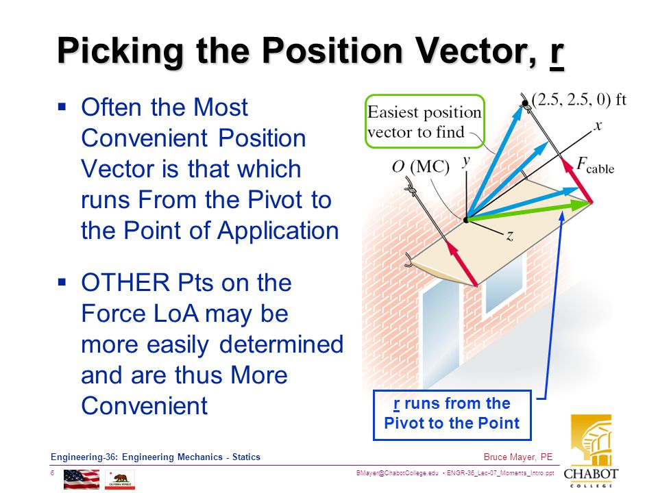 BMayer@ChabotCollege.edu ENGR-36_Lec-07_Moments_Intro.ppt 6 Bruce Mayer, PE Engineering-36: Engineering Mechanics - Statics Picking the Position Vector, r  Often the Most Convenient Position Vector is that which runs From the Pivot to the Point of Application r runs from the Pivot to the Point  OTHER Pts on the Force LoA may be more easily determined and are thus More Convenient
