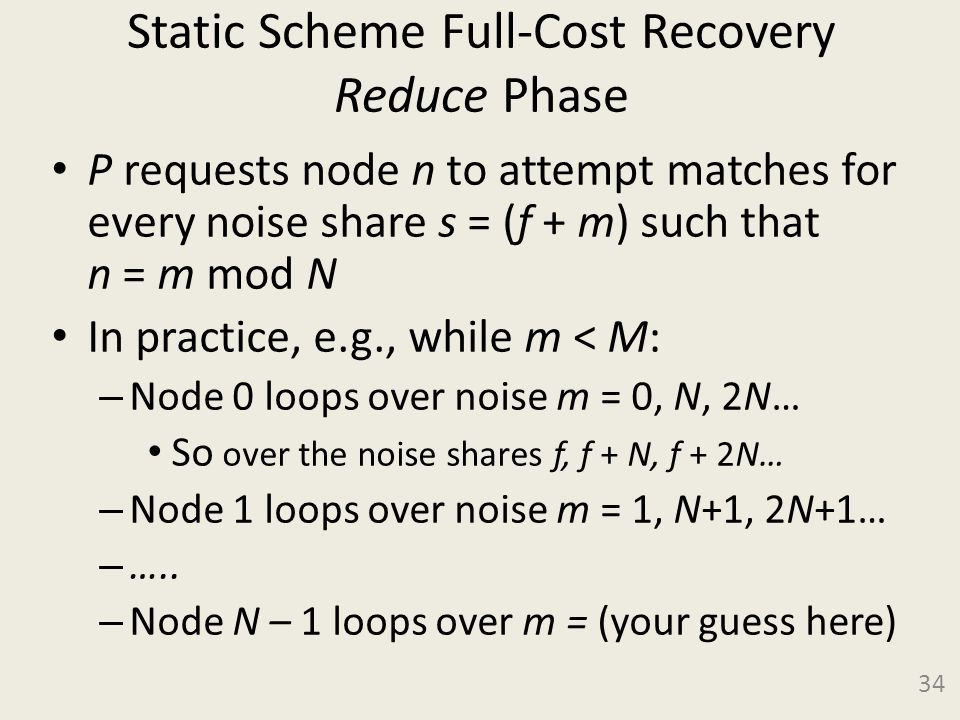 Static Scheme Full-Cost Recovery Reduce Phase P requests node n to attempt matches for every noise share s = (f + m) such that n = m mod N In practice, e.g., while m < M: – Node 0 loops over noise m = 0, N, 2N… So over the noise shares f, f + N, f + 2N… – Node 1 loops over noise m = 1, N+1, 2N+1… – …..