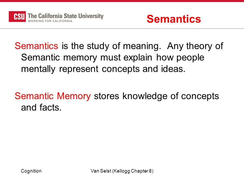 CognitionVan Selst (Kellogg Chapter 8) Semantics Semantics is the study of meaning.