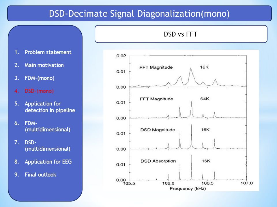 DSD-Decimate Signal Diagonalization(mono) 1.Problem statement 2.Main motivation 3.FDM-(mono) 4.DSD-(mono) 5.Application for detection in pipeline 6.FDM- (multidimensional) 7.DSD- (multidimensional) 8.Application for EEG 9.Final outlook DSD vs FFT