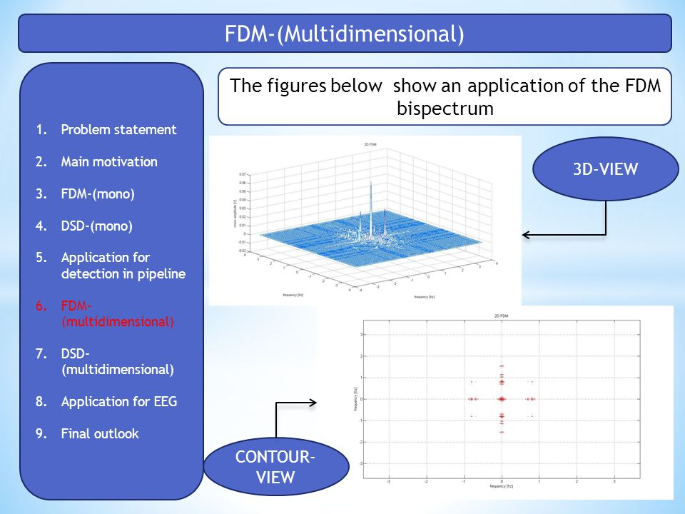 FDM-(Multidimensional) 1.Problem statement 2.Main motivation 3.FDM-(mono) 4.DSD-(mono) 5.Application for detection in pipeline 6.FDM- (multidimensional) 7.DSD- (multidimensional) 8.Application for EEG 9.Final outlook The figures below show an application of the FDM bispectrum 3D-VIEW CONTOUR- VIEW