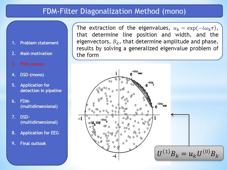 FDM-Filter Diagonalization Method (mono) 1.Problem statement 2.Main motivation 3.FDM-(mono) 4.DSD-(mono) 5.Application for detection in pipeline 6.FDM- (multidimensional) 7.DSD- (multidimensional) 8.Application for EEG 9.Final outlook
