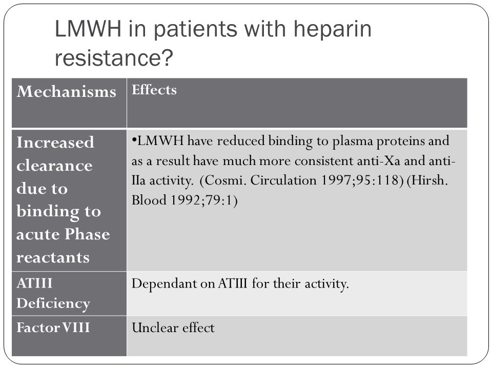 LMWH in patients with heparin resistance? Mechanisms Effects Increased clearance due to binding to acute Phase reactants LMWH have reduced binding to