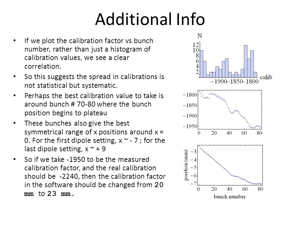 Additional Info If we plot the calibration factor vs bunch number, rather than just a histogram of calibration values, we see a clear correlation.