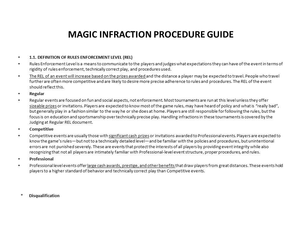 MAGIC INFRACTION PROCEDURE GUIDE 1.1.