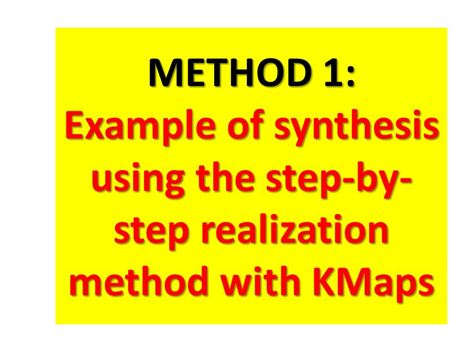 METHOD 1: Example of synthesis using the step-by- step realization method with KMaps