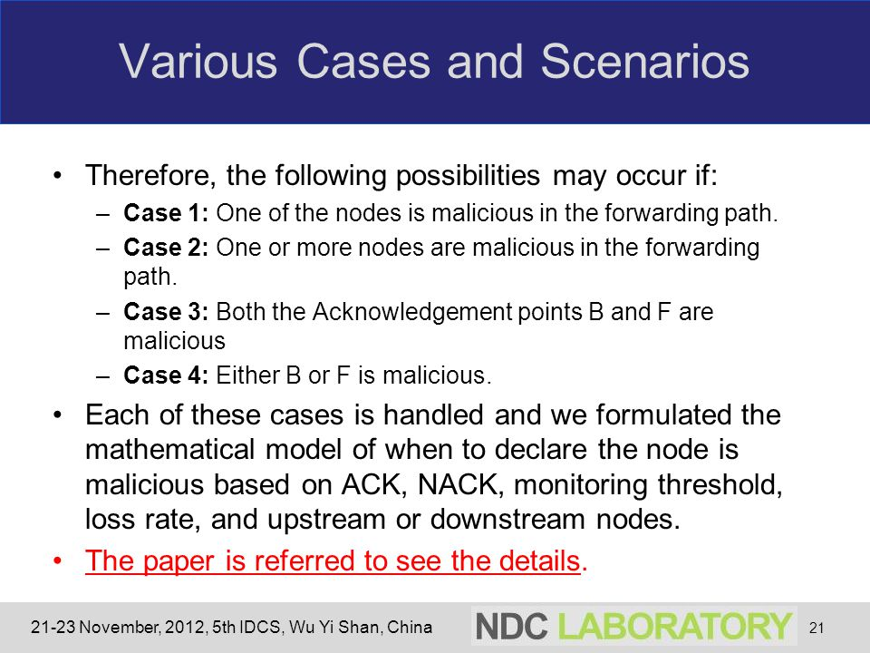 21-23 November, 2012, 5th IDCS, Wu Yi Shan, China Various Cases and Scenarios Therefore, the following possibilities may occur if: –Case 1: One of the nodes is malicious in the forwarding path.
