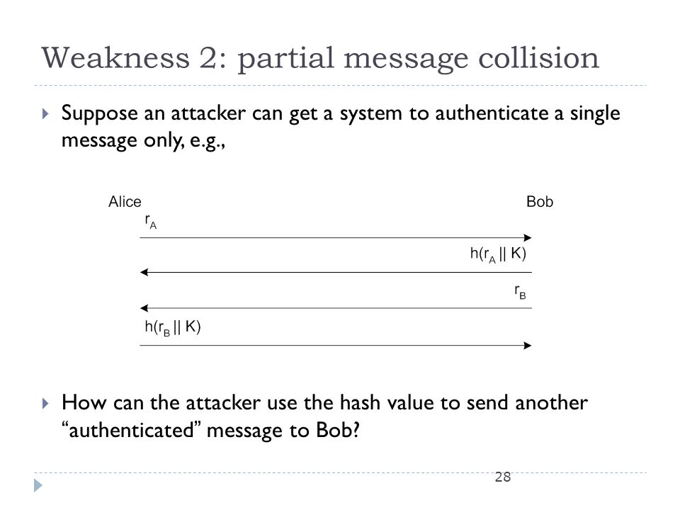 Weakness 2: partial message collision  Suppose an attacker can get a system to authenticate a single message only, e.g.,  How can the attacker use the hash value to send another authenticated message to Bob.