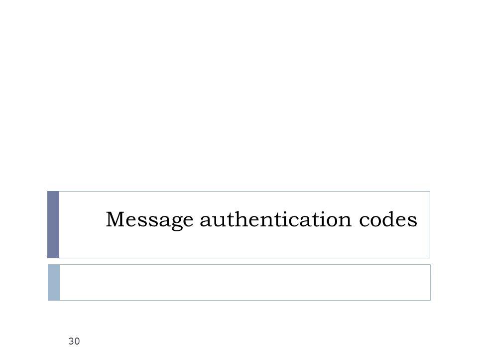 Message authentication codes 30