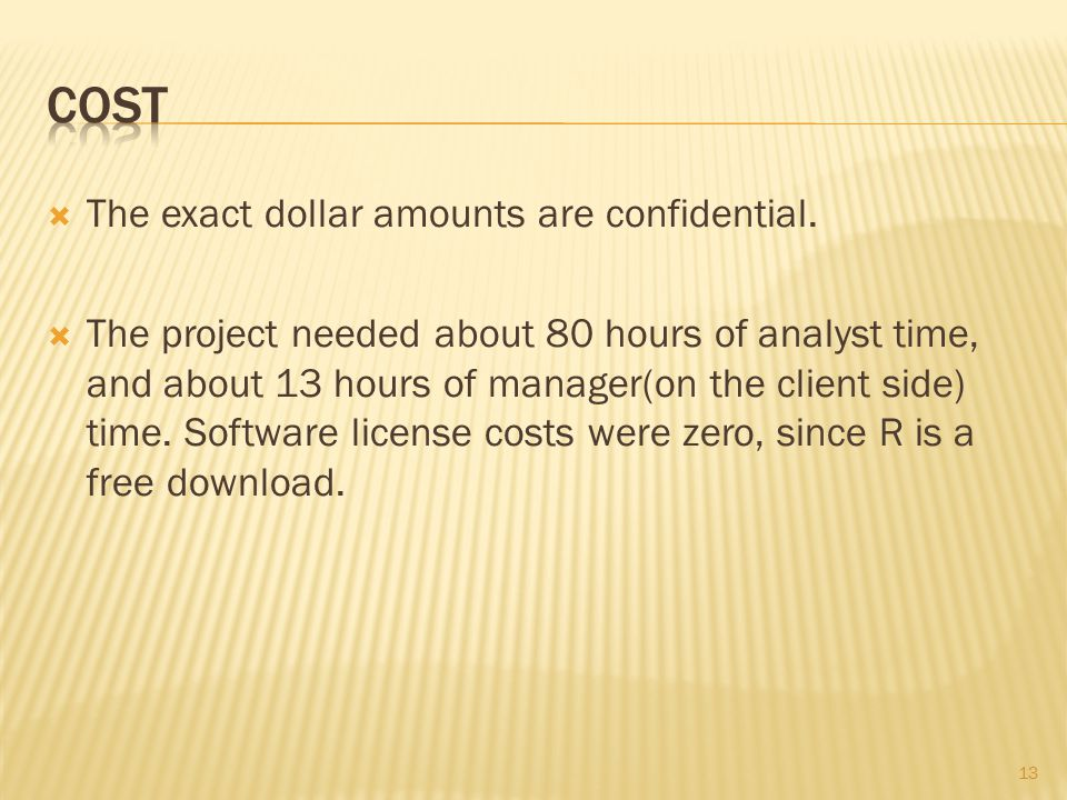  The exact dollar amounts are confidential.  The project needed about 80 hours of analyst time, and about 13 hours of manager(on the client side) ti