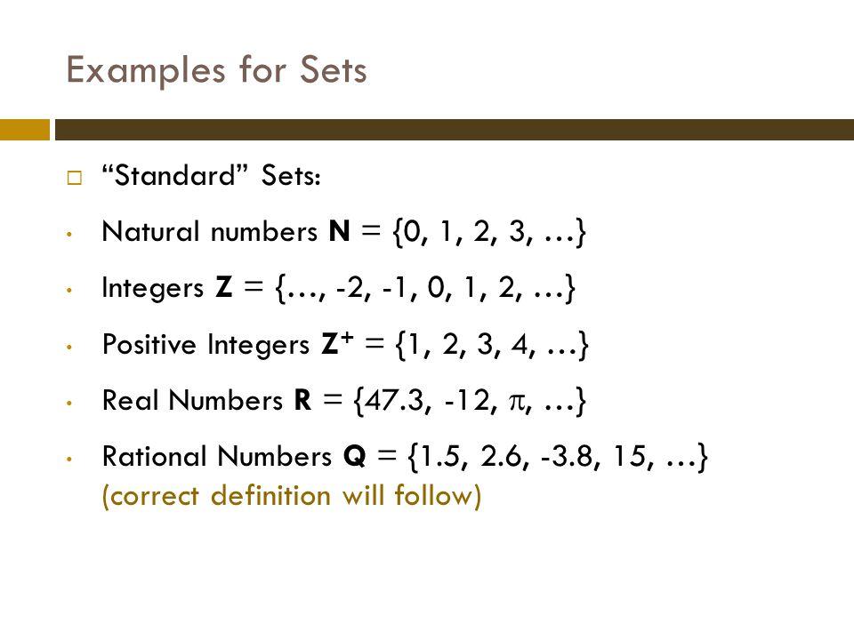The Power Set   (A) power set of A   (A) = {B | B  A} (contains all subsets of A)  Examples:  A = {x, y, z}   (A) = { , {x}, {y}, {z}, {x, y}, {x, z}, {y, z}, {x, y, z}}  A =    (A) = {  }  Note: |A| = 0, |  (A)| = 1