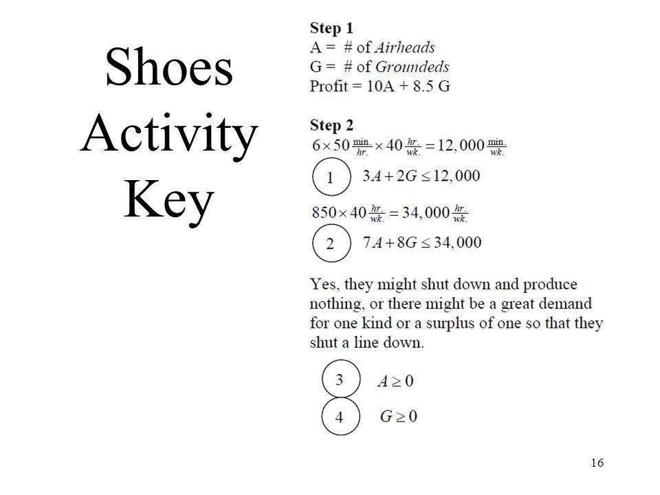 16 Shoes Activity Key